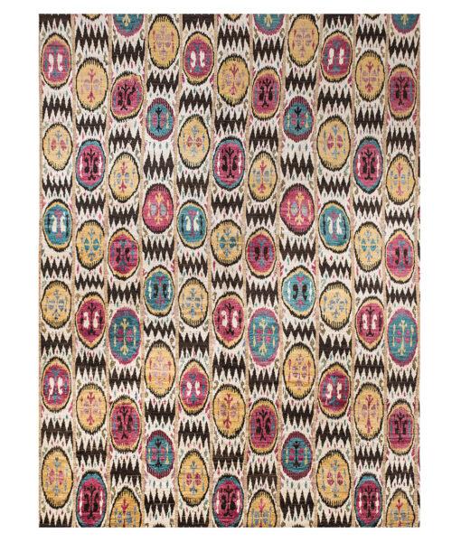 multicoloured ikat rug