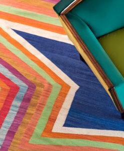 blue star flatweave rug